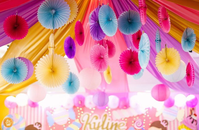 Tissue Fan Decoration Ceiling from a Ballerinas in Candy Land Birthday Party on Kara's Party Ideas | KarasPartyIdeas.com (11)
