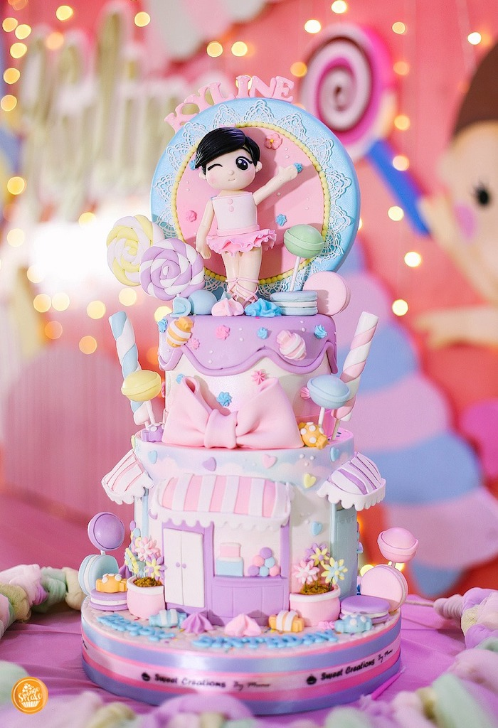 Candy Themed Birthday Cake from a Ballerinas in Candy Land Birthday Party on Kara's Party Ideas | KarasPartyIdeas.com (9)
