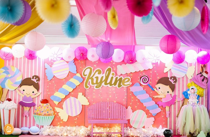 Candy Themed Backdrop + Photo Booth from a Ballerinas in Candy Land Birthday Party on Kara's Party Ideas | KarasPartyIdeas.com (8)