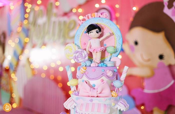 Candy Themed Birthday Cake from a Ballerinas in Candy Land Birthday Party on Kara's Party Ideas | KarasPartyIdeas.com (7)