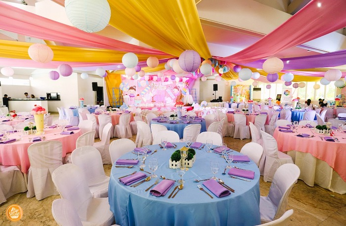 Colorful Guest Tables + Partyscape from a Ballerinas in Candy Land Birthday Party on Kara's Party Ideas | KarasPartyIdeas.com (28)