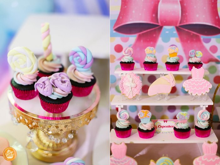Candy Cupcakes + Ballet Cookies from a Ballerinas in Candy Land Birthday Party on Kara's Party Ideas | KarasPartyIdeas.com (27)