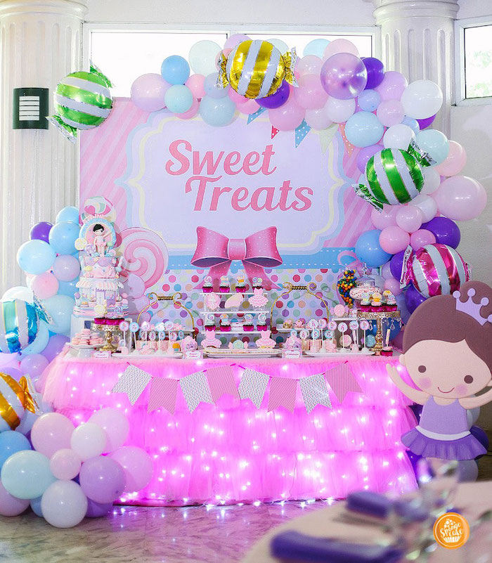 Candy Themed Dessert Table from a Ballerinas in Candy Land Birthday Party on Kara's Party Ideas | KarasPartyIdeas.com (25)