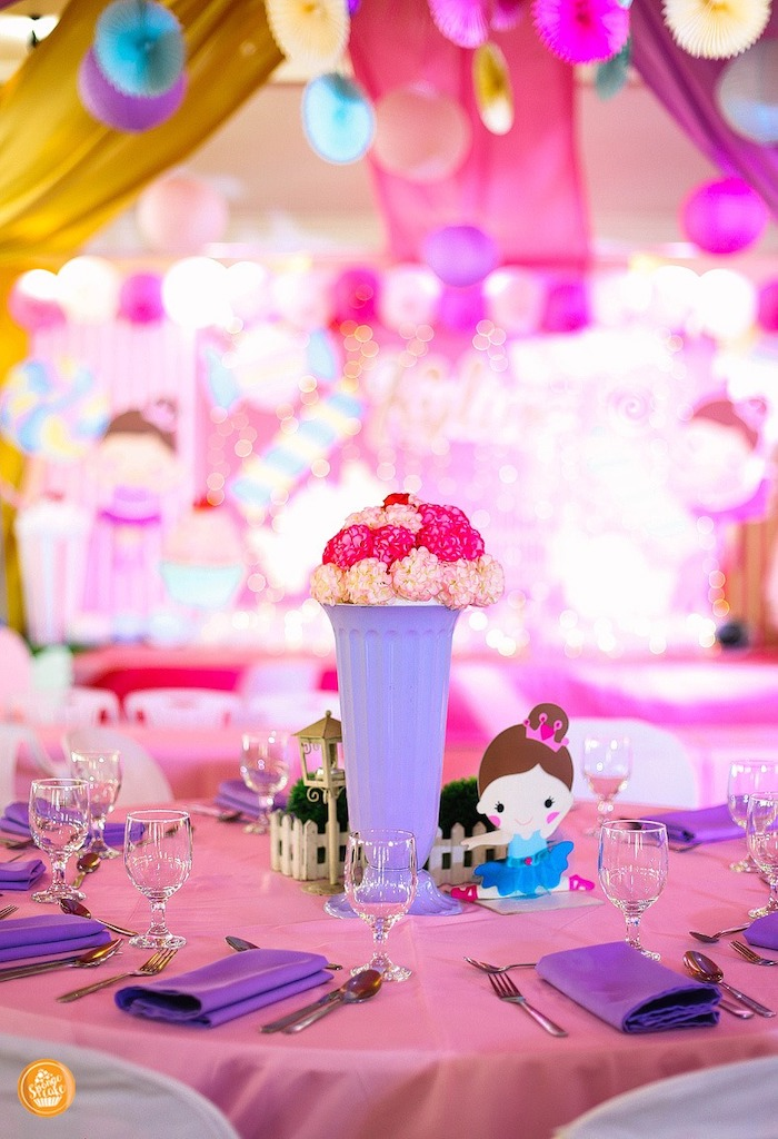 Pink + Purple Guest Table from a Ballerinas in Candy Land Birthday Party on Kara's Party Ideas | KarasPartyIdeas.com (24)