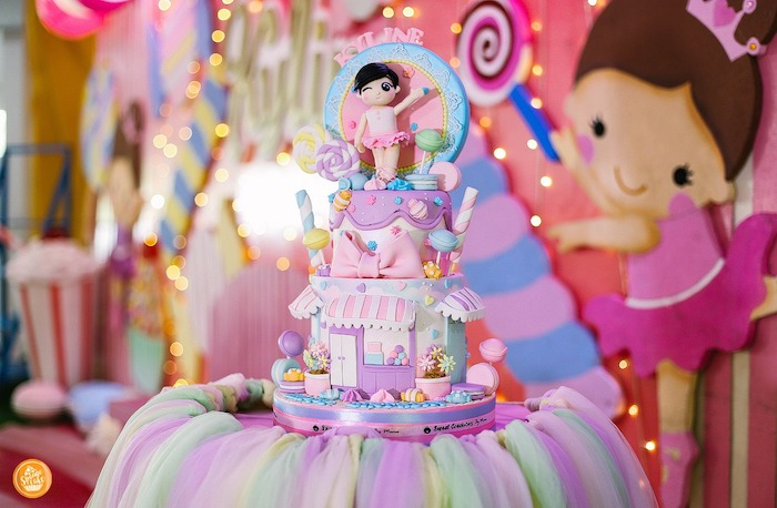 Candy Themed Birthday Cake from a Ballerinas in Candy Land Birthday Party on Kara's Party Ideas | KarasPartyIdeas.com (23)
