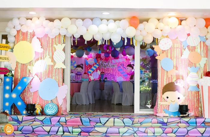 Candy-inspired Party Entrance from a Ballerinas in Candy Land Birthday Party on Kara's Party Ideas | KarasPartyIdeas.com (21)