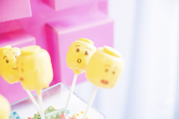 Lego Head Cake Pops from a Bright & Colorful Girl LEGO Party on Kara's Party Ideas | KarasPartyIdeas.com (18)