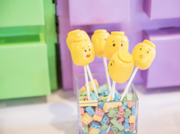 Lego Head Cake Pops from a Bright & Colorful Girl LEGO Party on Kara's Party Ideas | KarasPartyIdeas.com (15)