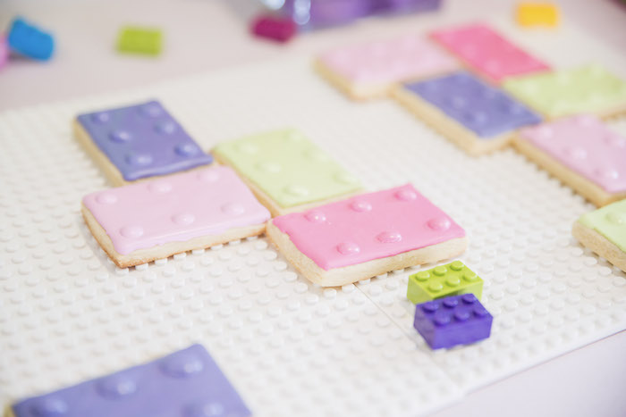 Lego Sugar Cookies from a Bright & Colorful Girl LEGO Party on Kara's Party Ideas | KarasPartyIdeas.com (14)