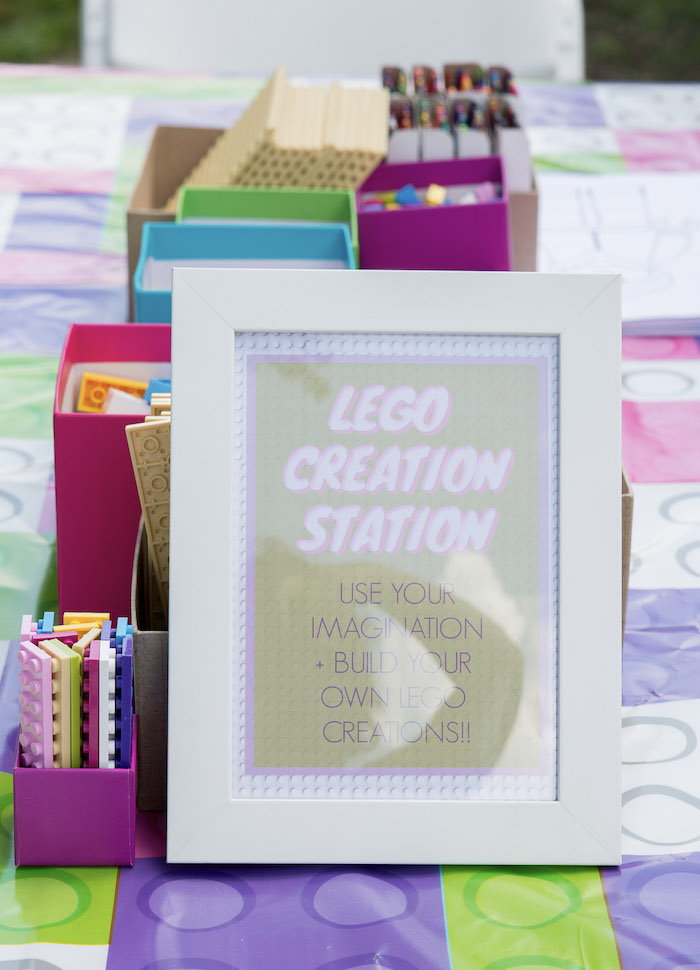 Lego Creation Station + Signage from a Bright & Colorful Girl LEGO Party on Kara's Party Ideas | KarasPartyIdeas.com (10)