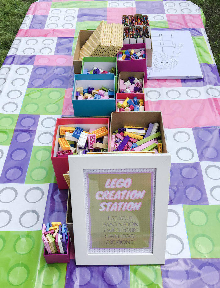 Lego Creation Station from a Bright & Colorful Girl LEGO Party on Kara's Party Ideas | KarasPartyIdeas.com (6)