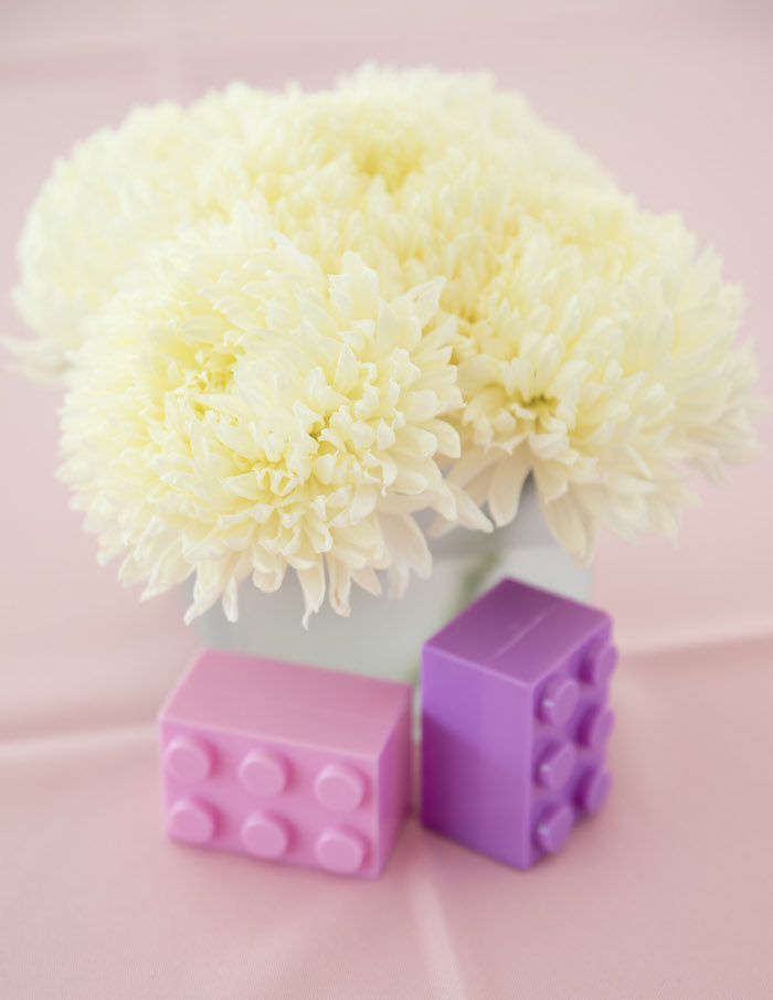 Lego and Bloom Table Centerpiece from a Bright & Colorful Girl LEGO Party on Kara's Party Ideas | KarasPartyIdeas.com (25)