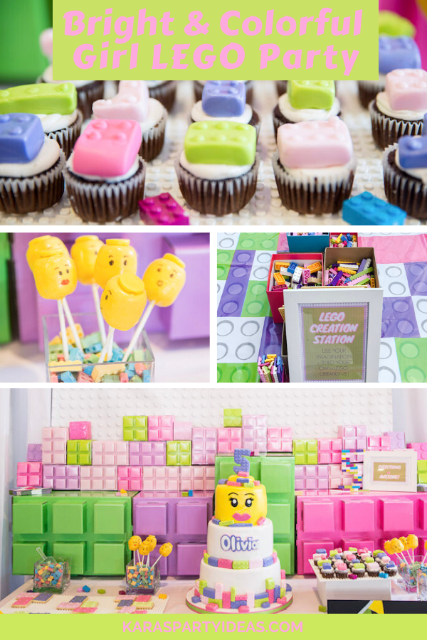 Bright & Colorful Girl LEGO Party via KarasPartyIdeas - KarasPartyIdeas.com