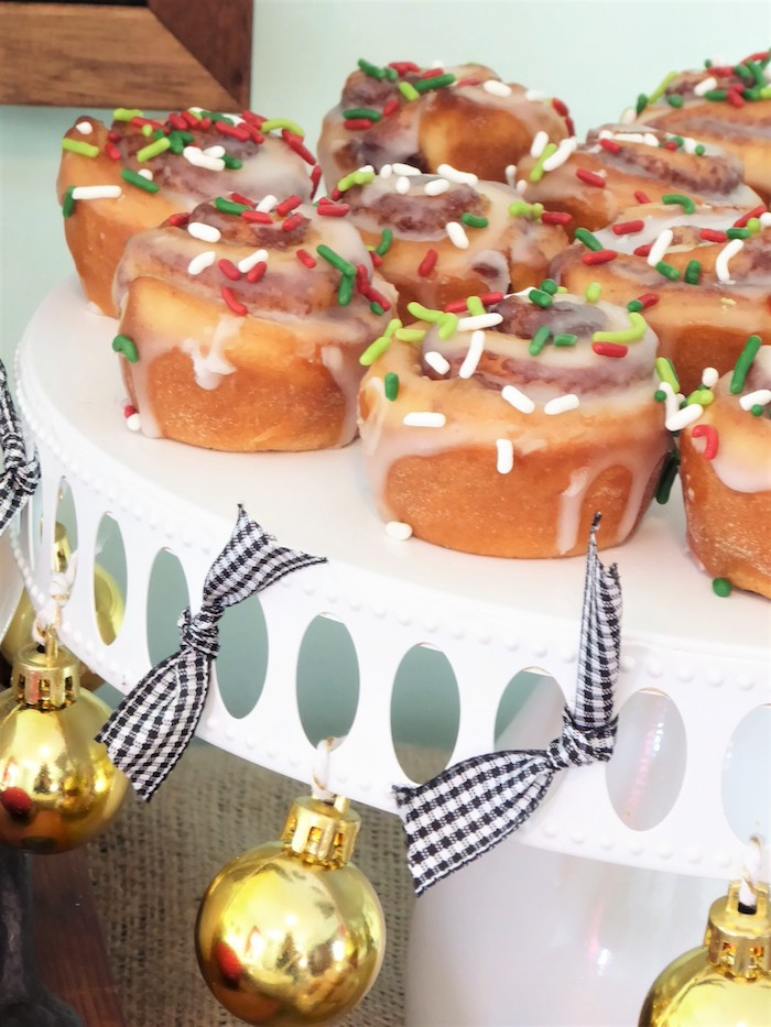 Cinnamon Rolls from a DIY Christmas Hot Cocoa Bar on Kara's Party Ideas | KarasPartyIdeas.com