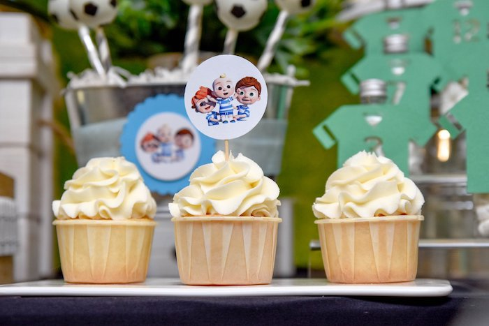 Cupcakes with Custom Cocomelon Toppers from a Cocomelon & Soccer Birthday Party on Kara's Party Ideas | KarasPartyIdeas.com (10)