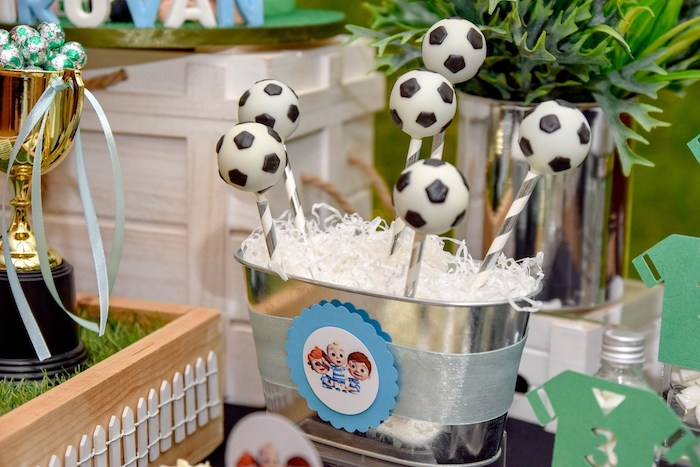 Soccer Ball Cake Pops from a Cocomelon & Soccer Birthday Party on Kara's Party Ideas | KarasPartyIdeas.com (9)