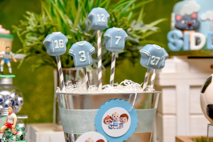 Soccer Jersey Cake Pops from a Cocomelon & Soccer Birthday Party on Kara's Party Ideas | KarasPartyIdeas.com (7)