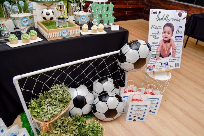Netted Mylar Soccer Ball Balloons from a Cocomelon & Soccer Birthday Party on Kara's Party Ideas | KarasPartyIdeas.com (6)