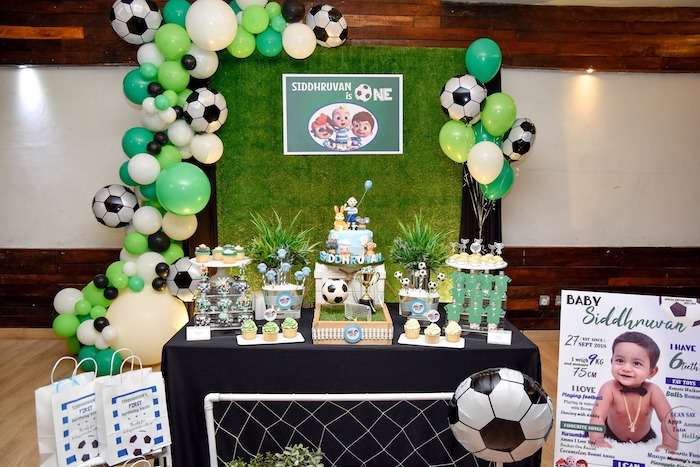 Soccer Themed Dessert Table from a Cocomelon & Soccer Birthday Party on Kara's Party Ideas | KarasPartyIdeas.com (4)