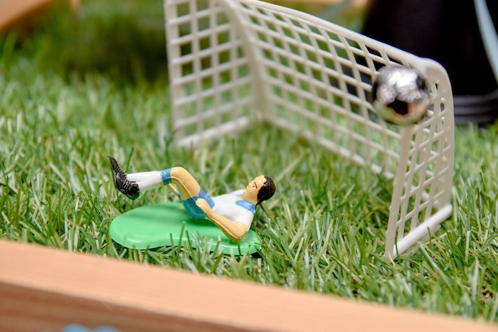 Soccer Player + Net Decoration from a Cocomelon & Soccer Birthday Party on Kara's Party Ideas | KarasPartyIdeas.com (20)