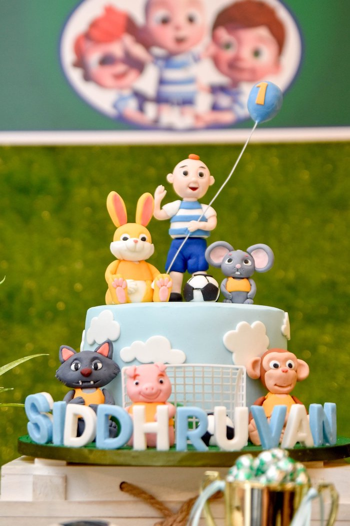 Cocomelon + Soccer Themed Birthday Cake from a Cocomelon & Soccer Birthday Party on Kara's Party Ideas | KarasPartyIdeas.com (15)
