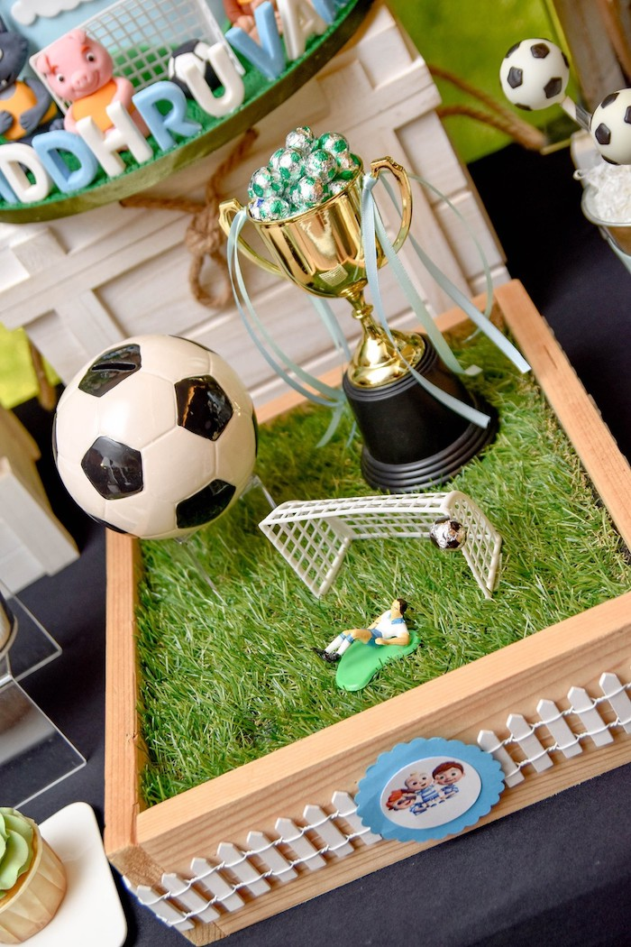 Soccer Field Decoration from a Cocomelon & Soccer Birthday Party on Kara's Party Ideas | KarasPartyIdeas.com (13)