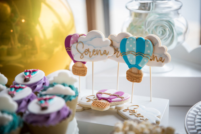 Hot Air Balloon + Cloud Cookie Pops from a Colorful Hot Air Balloon Birthday Party on Kara's Party Ideas | KarasPartyIdeas.com (7)