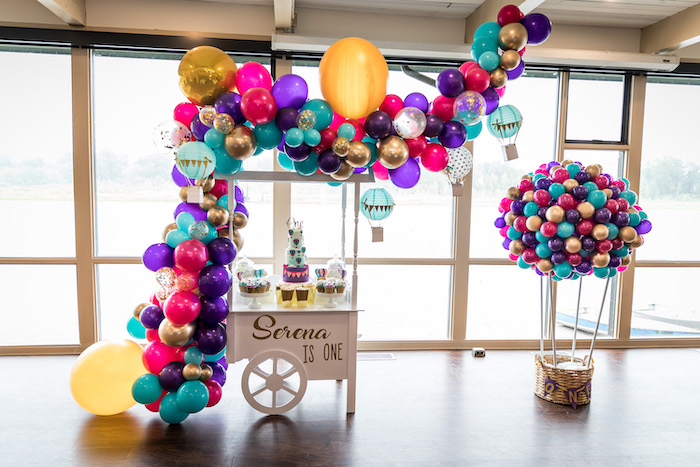 Hot Air Balloon Themed Dessert Cart from a Colorful Hot Air Balloon Birthday Party on Kara's Party Ideas | KarasPartyIdeas.com (5)