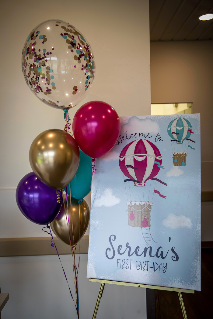 Hot Air Balloon Welcome Sign from a Colorful Hot Air Balloon Birthday Party on Kara's Party Ideas | KarasPartyIdeas.com (14)