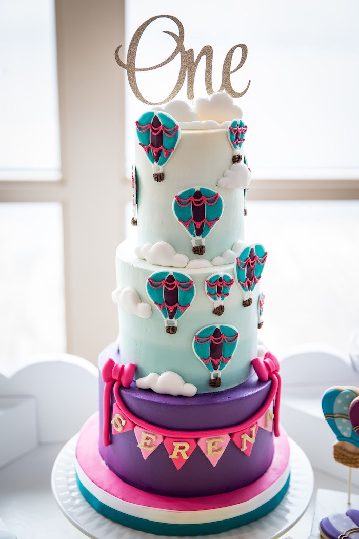 Hot Air Balloon Themed Cake from a Colorful Hot Air Balloon Birthday Party on Kara's Party Ideas | KarasPartyIdeas.com (8)