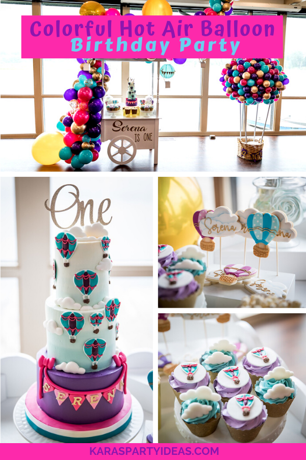 Colorful Hot Air Balloon Birthday Party via Kara's Party Ideas - KarasPartyIdeas.com
