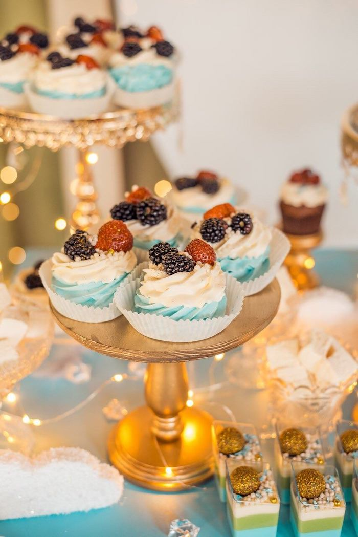 Fruit-topped Cupcakes from a Dreamy Wish Upon a Star Christening Party on Kara's Party Ideas | KarasPartyIdeas.com (10)