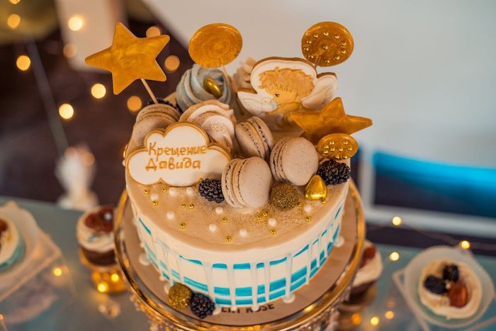 Wish Upon a Star Themed Drip Cake from a Dreamy Wish Upon a Star Christening Party on Kara's Party Ideas | KarasPartyIdeas.com (9)
