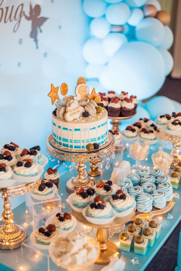 Twinkling Star Dessert Table from a Dreamy Wish Upon a Star Christening Party on Kara's Party Ideas | KarasPartyIdeas.com (6)
