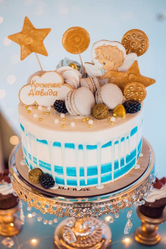 Wish Upon a Star Themed Drip Cake from a Dreamy Wish Upon a Star Christening Party on Kara's Party Ideas | KarasPartyIdeas.com (17)
