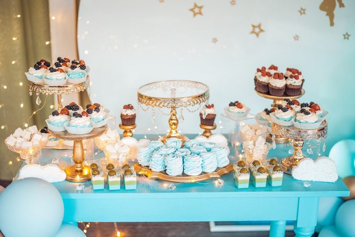 Blue + Gold Dessert Table from a Dreamy Wish Upon a Star Christening Party on Kara's Party Ideas | KarasPartyIdeas.com (16)