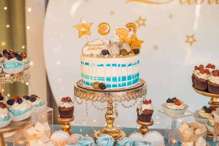 Wish Upon a Star Cake from a Dreamy Wish Upon a Star Christening Party on Kara's Party Ideas | KarasPartyIdeas.com (15)