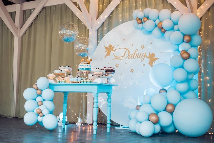Wish Upon a Star Themed Dessert Table from a Dreamy Wish Upon a Star Christening Party on Kara's Party Ideas | KarasPartyIdeas.com (13)