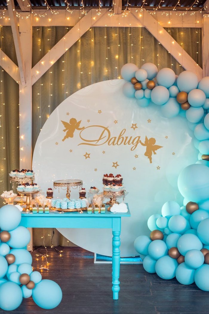 Gold + Blue Star Themed Dessert Table from a Dreamy Wish Upon a Star Christening Party on Kara's Party Ideas | KarasPartyIdeas.com (12)