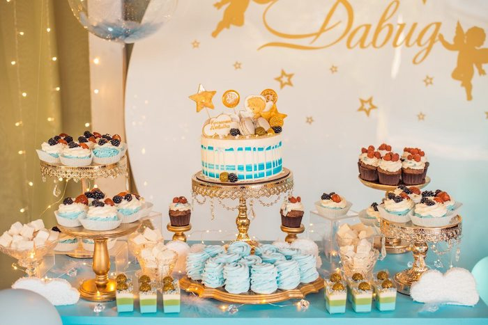Gold + Blue Star Themed Dessert Table from a Dreamy Wish Upon a Star Christening Party on Kara's Party Ideas | KarasPartyIdeas.com (11)