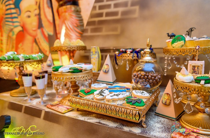 Ornate Dessert Spread from an Egyptian Themed Birthday Party on Kara's Party Ideas | KarasPartyIdeas.com (64)
