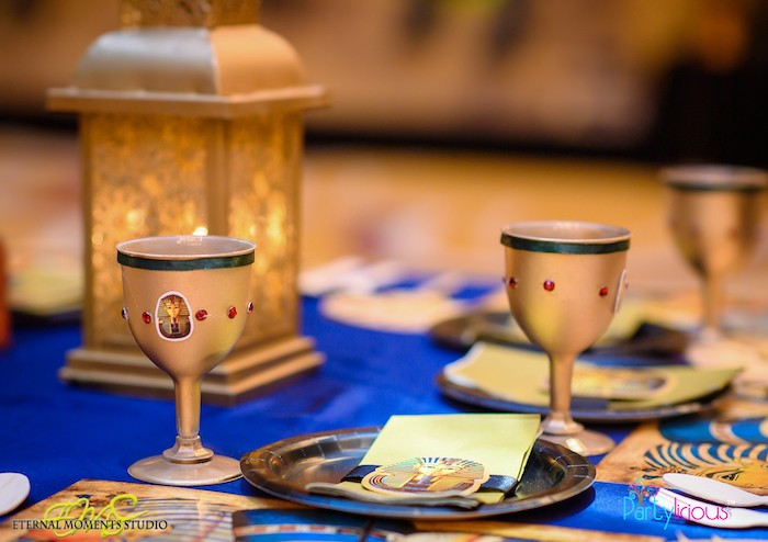 Gold Jewel-adorned Goblets from an Egyptian Themed Birthday Party on Kara's Party Ideas | KarasPartyIdeas.com (63)