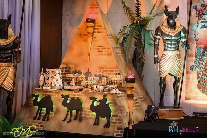Pyramid Dessert Table from an Egyptian Themed Birthday Party on Kara's Party Ideas | KarasPartyIdeas.com (79)
