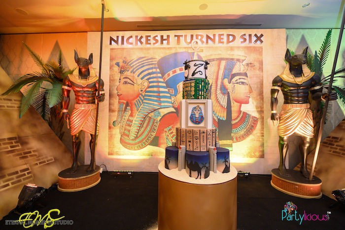 Anubis Guarded Cake Pedestal from an Egyptian Themed Birthday Party on Kara's Party Ideas | KarasPartyIdeas.com (60)