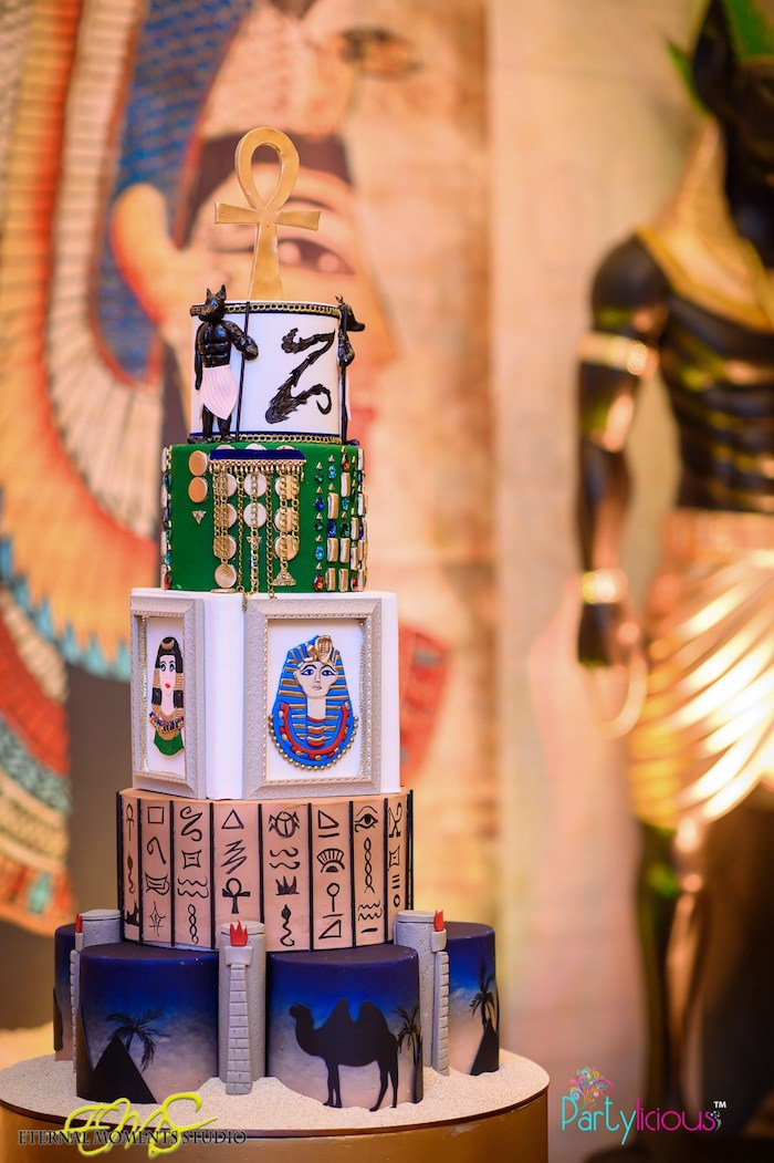 Egyptian Themed Birthday Cake from an Egyptian Themed Birthday Party on Kara's Party Ideas | KarasPartyIdeas.com (50)