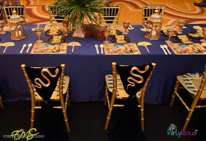 Egyptian Themed Guest Table from an Egyptian Themed Birthday Party on Kara's Party Ideas | KarasPartyIdeas.com (49)