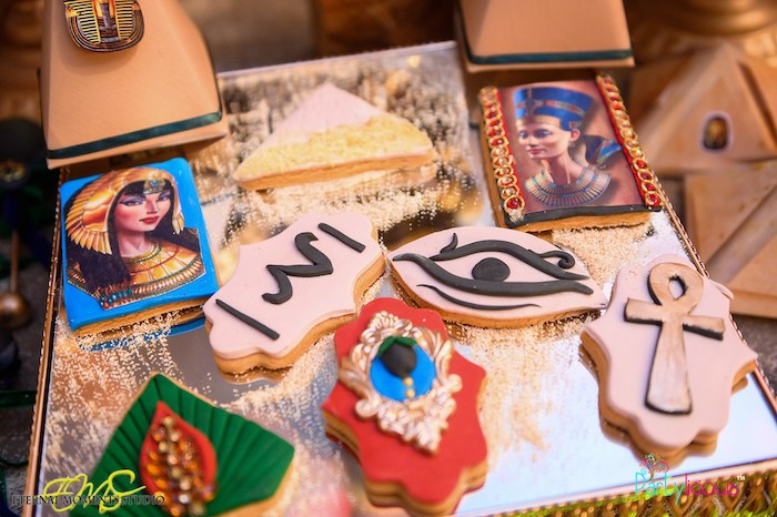 Egyptian-inspired Cookies from an Egyptian Themed Birthday Party on Kara's Party Ideas | KarasPartyIdeas.com (47)