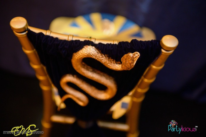 Gold-snaked Chair Backs from an Egyptian Themed Birthday Party on Kara's Party Ideas | KarasPartyIdeas.com (44)