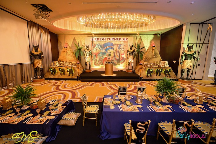 Egyptian Themed Guest Table from an Egyptian Themed Birthday Party on Kara's Party Ideas | KarasPartyIdeas.com (38)