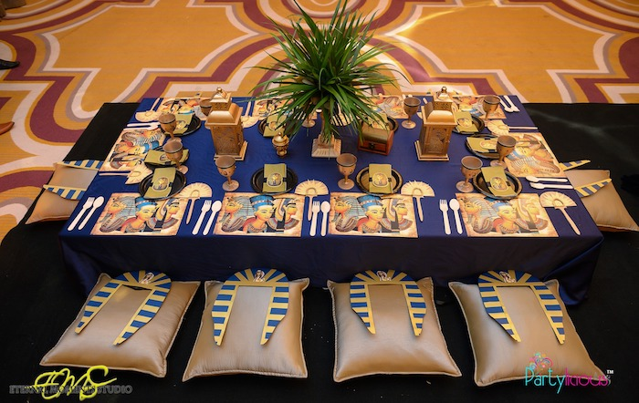 Egyptian Themed Guest Table from an Egyptian Themed Birthday Party on Kara's Party Ideas | KarasPartyIdeas.com (37)